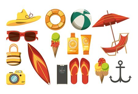 Summer and beach set of cartoons icons collection vector illustration graphic design Stock Illustratie