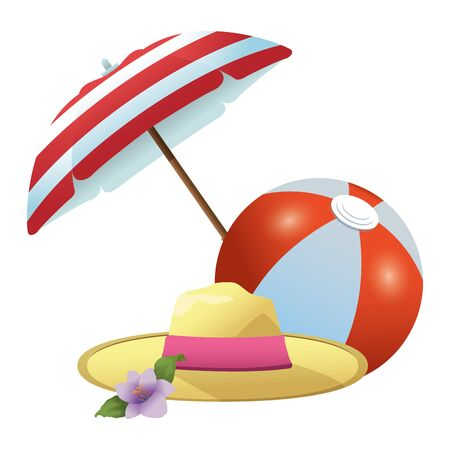 Summer hat and beach ball under umbrella ,vector illustration graphic design.