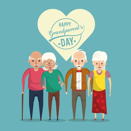 Happy grandparents day card with elderly couples cartoons vector illustration graphoc design. Çizim