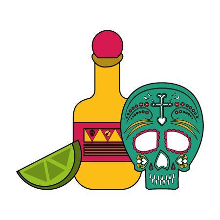 Mexico celebrations tequila lemons and day of death skull cartoons vector illustration graphic design