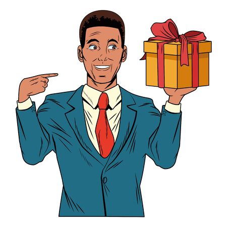 man avatar with gift box afroamerican wearing suit profile picture cartoon character portrait vector illustration graphic design Illustration