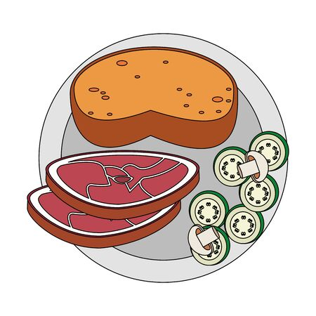 Healthy food and delicious ingredients bread with beeg steak and salad vector illustration graphic design