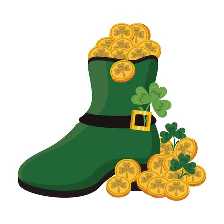 saint patricks day irish tradition green leprechaun boot with golden coins and clovers cartoon vector illustration graphic design Çizim
