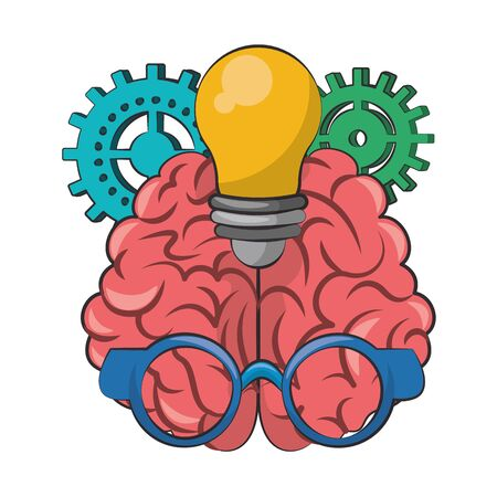 human brain with glasses and gears with bulb light cartoon vector illustration graphic design