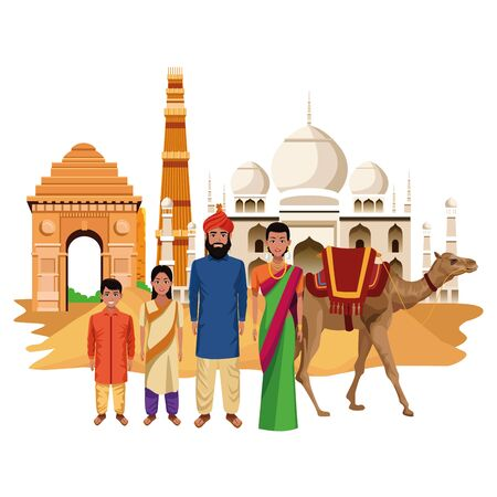 indian family ethnic of india wearing traditional hindu clothes in taj mahal and buildings vector illustration graphic design