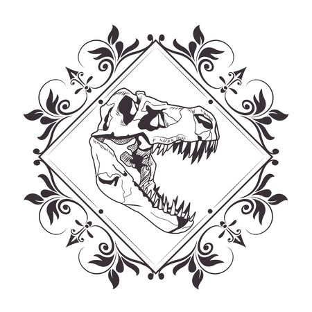 dinosaur head skeleton into diamond with flower arrangement drawn in black and white tattoo icon vector illustration graphic design