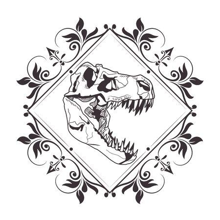 Esqueleto de cabeza de dinosaurio en diamante con arreglo floral dibujado en diseño gráfico de ilustración de vector de icono de tatuaje blanco y negro