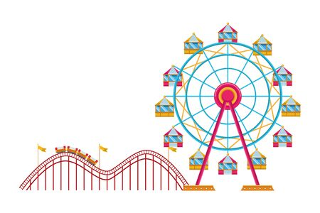 amusement park and fun day with chicago wheel and roller coaster isolated vector illustration graphic design