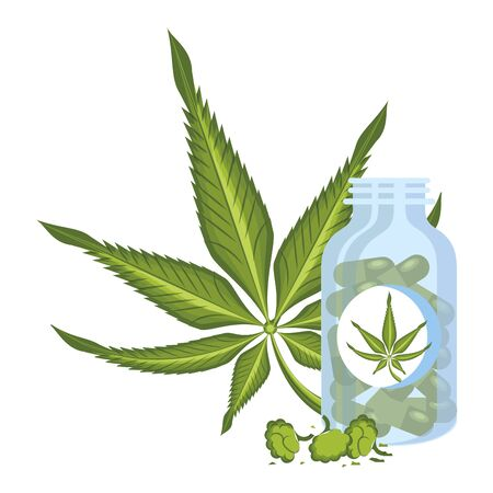 cannabis martihuana medical marijuana medicine sativa hemp buds and pills bottle cartoon vector illustration graphic design