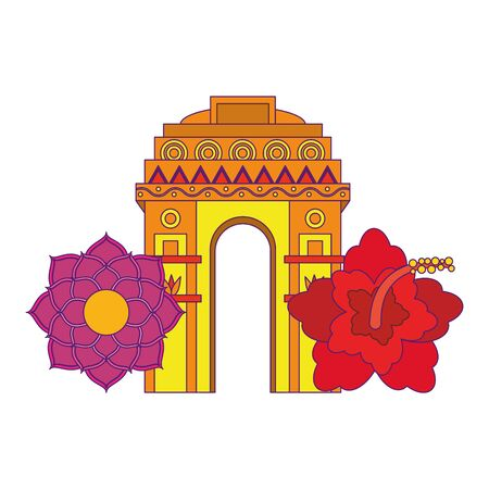 indian building monuments with gateway of india and lotus flower icon cartoon vector illustration graphic design