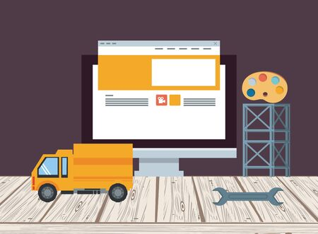 technology device maintenance support computer screen under website construction with engineer heavy tools cartoon vector illustration graphic design Banco de Imagens - 130810418