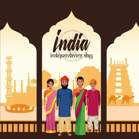 India independence day card with indian ethnic people and emblems cartoons on monuments buildings background ,vector illustration.