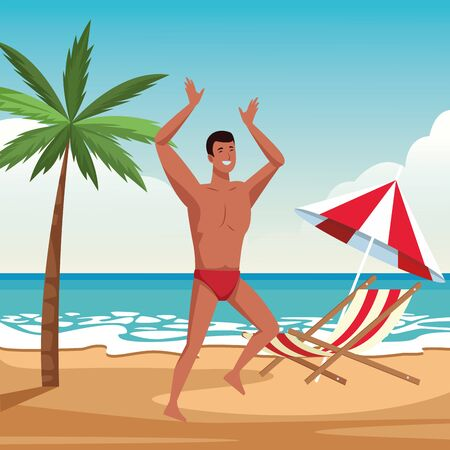 Young man dancing in summer time in swimsuit in beach at sunny day scenery vector illustration