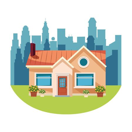 house building with plant pot over the grass and cityscape silhoette with skyscraper icon cartoon vector illustration graphic design