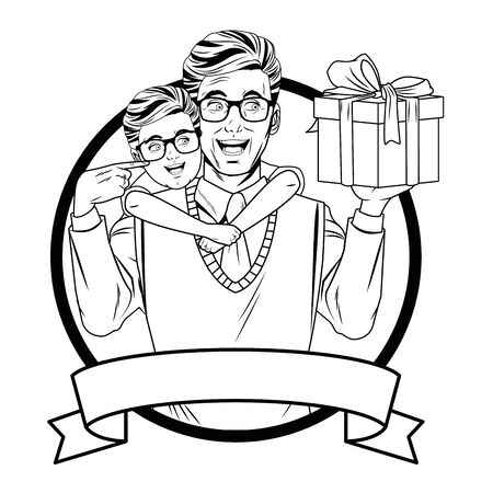 man with sweater, tie and glasses carrying a boy wearing glasses with a gift box wrapped with a ribbon and a bow in round icon with ribbon banner in black and white vector illustration graphic design