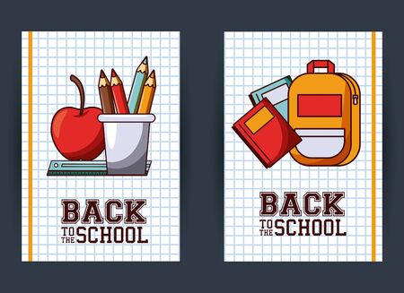 Back to school season card and poster, school utensils and supplies cartoons. vector illustration graphic design 일러스트