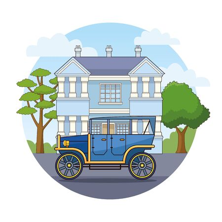 Vintage classic car vehicle sideview riding in the city, urban background vector illustration graphic design Banque d'images - 130862625