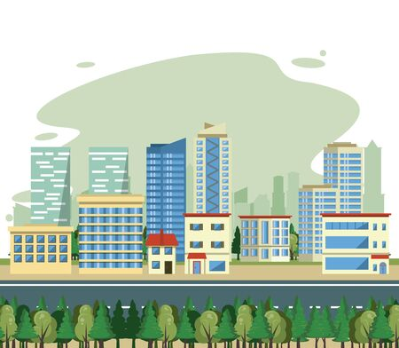 Urban buildings skysrapers and street cityscape view scenary vector illustration graphic design