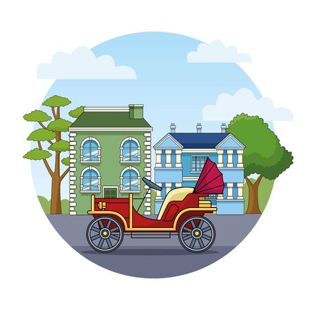 Antique classic convertible car vehicle sideview riding in the city, urban background vector illustration graphic design Banque d'images - 130957751