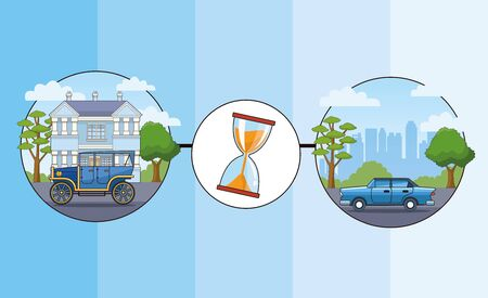 Transport and vehicles evolution, transportation timeline, template infographic with differents styles of cars and horse carriages. vector illustration graphic design Banque d'images - 130862749