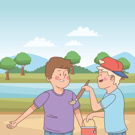 teenager friends with paint bucket and brush in the nature outdoors scenery ,vector illustration graphic design.