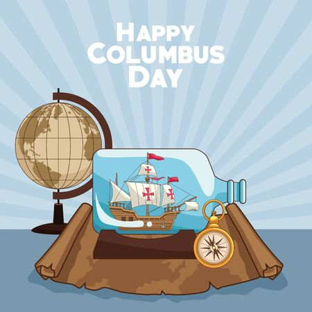 colombus columbus day card with antique navigation tools cartoons, america discovery celebration, travel and history. vector illustration graphic design Vector Illustration