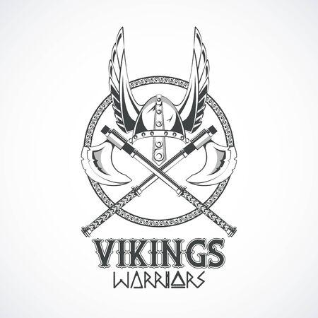 Guerreros vikingos y armas de dibujos medievales, plantillas de camisetas impresas, ropa y estilos de moda. diseño gráfico de ilustración vectorial