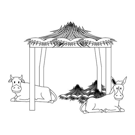 farm cute mammals animals donkey with cow cartoon vector illustration graphic design