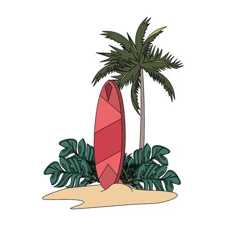 tropikalne lato relaks wakacje na świeżym powietrzu, vintage stół surfingowy na plaży kreskówka wektor ilustracja projekt graficzny