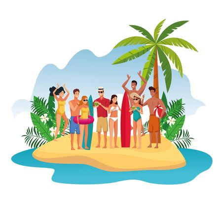 Young friends having fun at beach with surf tables, summer and vacations. splash scenery vector illustration graphic design 向量圖像