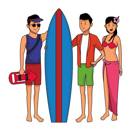 Friends enjoying summer in swimsuit with surf table isolated vector illustration graphic design Illusztráció