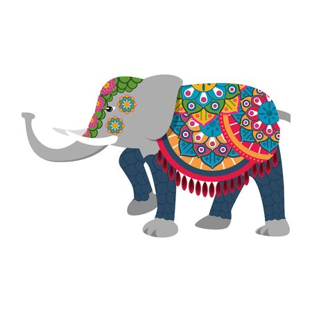 grey elephant decorated with embroidery blanket with mandala shape icon cartoon isolated vector illustration graphic design