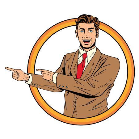 Pop art businessman round stamp frame hands pointing indication vector illustration graphic design Illustration
