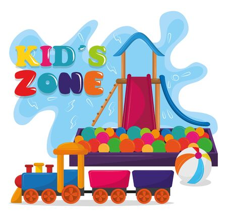 kids zone children entertaiment with slide, balloon, ball pool and train icon cartoon vector illustration graphic design Stock Illustratie