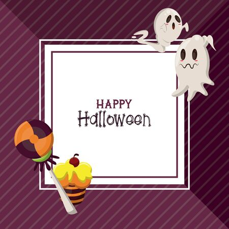 Happy halloween season card with ghosts and candies cartoons ,vector illustration graphic design.