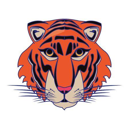 Tiger wildlife animal head cartoon isolated vector illustration graphic design