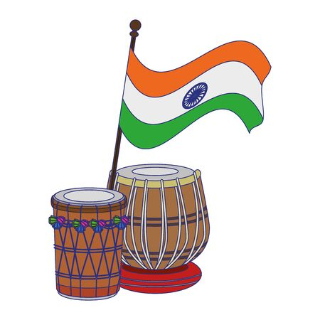 India independence day emblems flag and drums cartoons vector illustration graphic design