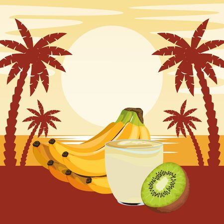 tropical fruit and smoothie drink with banana cluster and kiwi icon cartoon over beach sunset landscape vector illustration graphic design Stok Fotoğraf - 130638830
