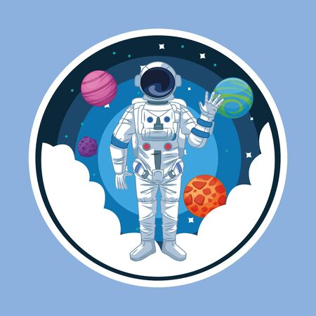 Astronaut in the space with planets and stars round icon blue background round icon vector illustration graphic design Illustration