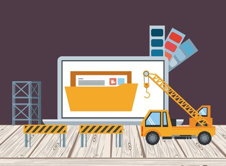 technology device laptop maintenance under website contruction and engineer support with heaavy construction tools cartoon vector illustration graphic design