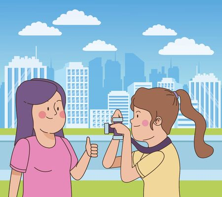 teenagers friends taking photos with camera in the city park, nature and cityscape background ,vector illustration graphic design.