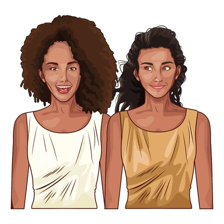 Pop art beautiful women smiling with casual clothes ,vector illustration graphic design.