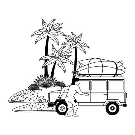 Summer man with van and surf tables in the beach vector illustration graphic design