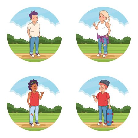 Teenagers friends at park cartoons set of round icons vector illustration graphic design Çizim