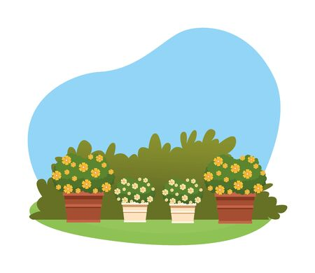 plant pot with flowers over the grass and shruberry icon cartoon vector illustration graphic design