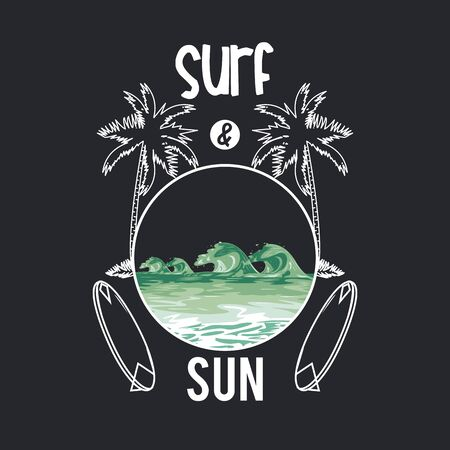 Surf and summer card with summer and beach cartoons , vacations and travel. vector illustration graphic design.