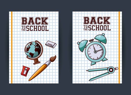Back to school season card and poster, school utensils and supplies cartoons. vector illustration graphic design Çizim
