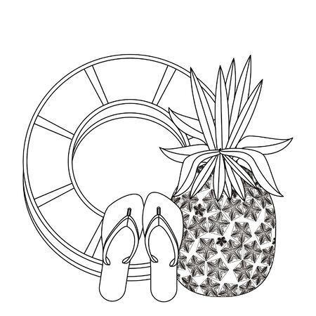 summer beach and vacation with pineapple, sandals icon cartoons in black and white vector illustration graphic design
