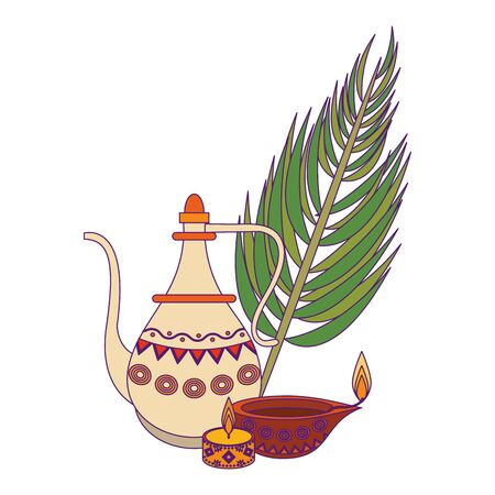 indian traditional teapot with lit candle, lamp and palm leaf icon cartoon vector illustration graphic design Illustration