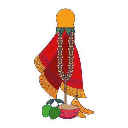 Ugadi festival offering flowers pot with bananas and mangos cartoons vector illustration graphic design